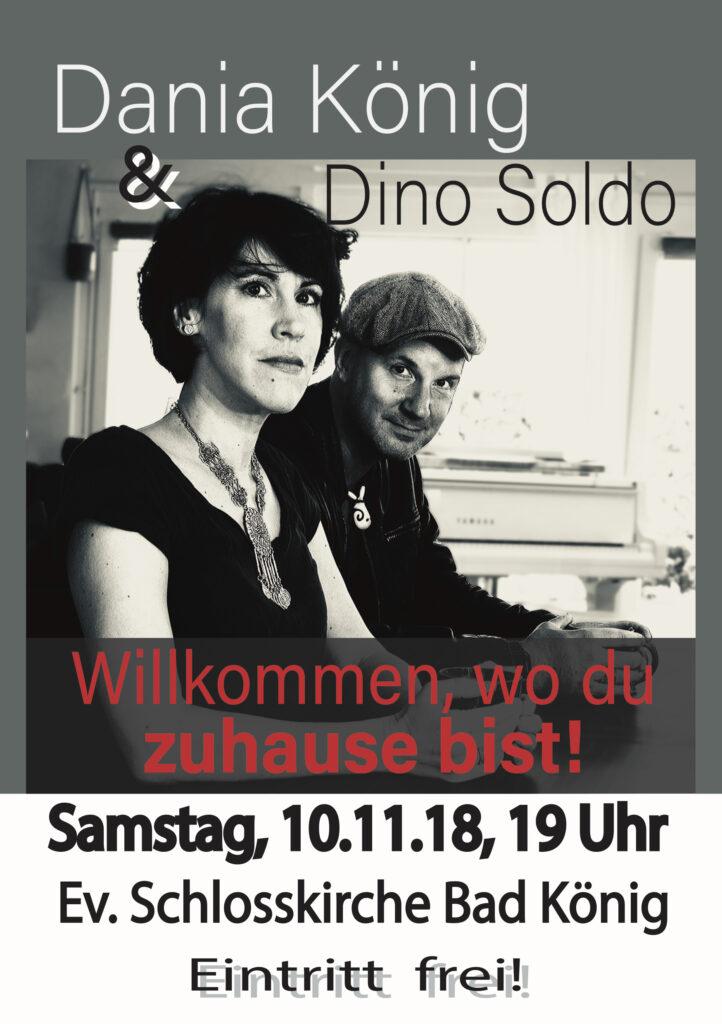 Plakat zum Konzert mit Dania König und Dino Soldo am 10.11.2018 in der evangelischen Schlosskirche in Bad König